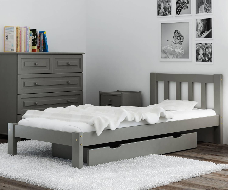 Alena ágy tömör szürke  90x200
