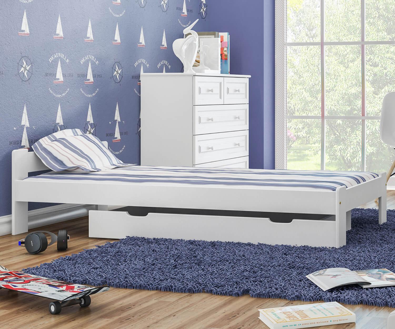 MAXI-DREW Anetka ágy 80x200 - tömör fenyő fehér