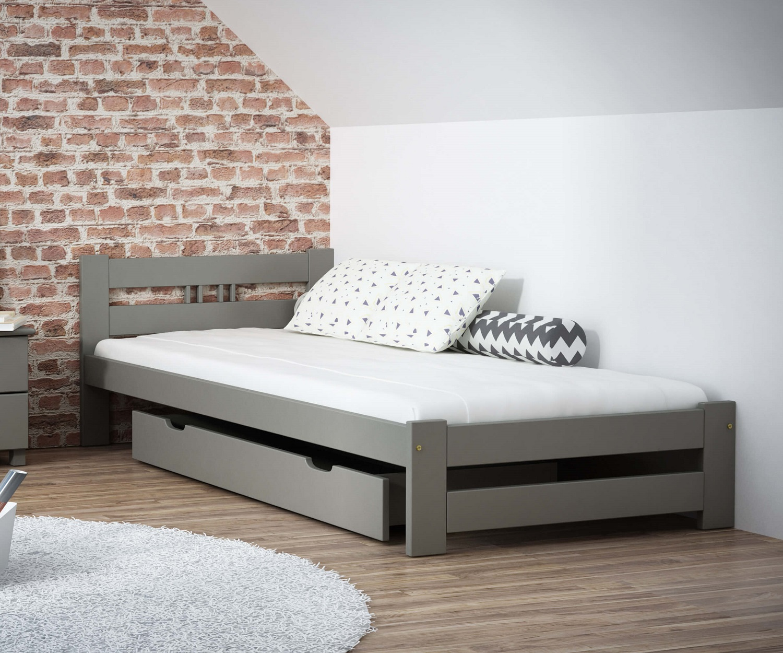LUX VitBed tömör fenyő ágy szürke 90x200cm