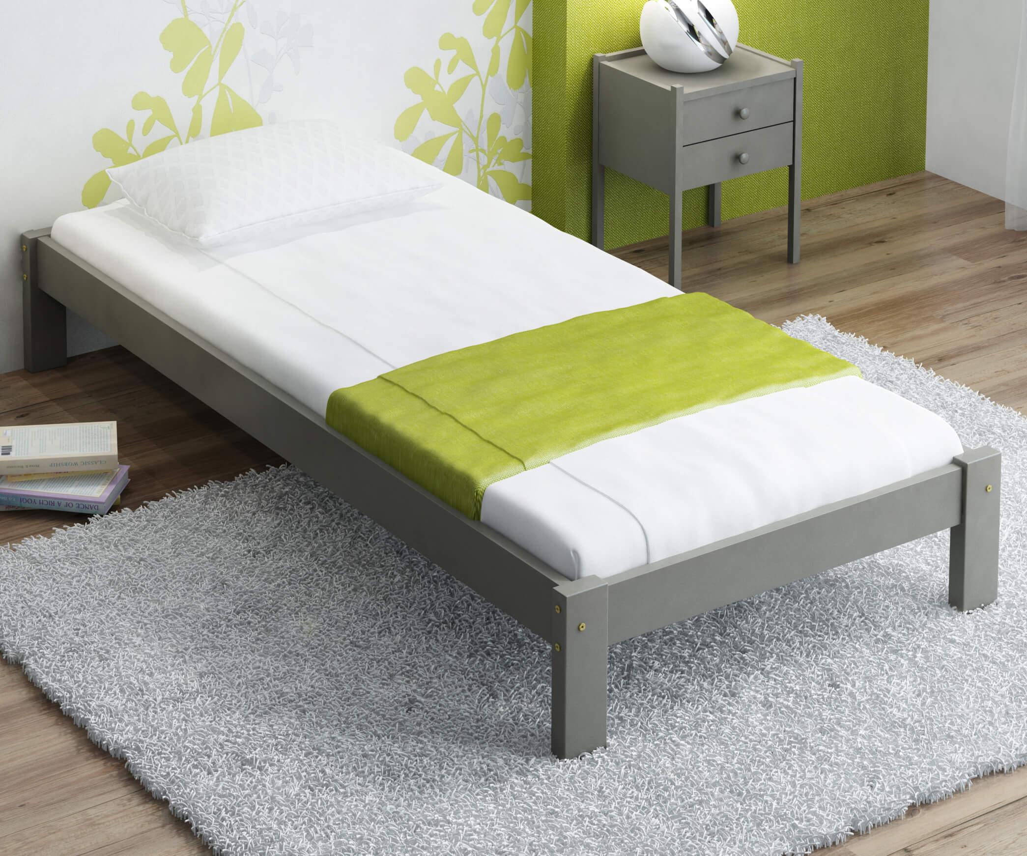 Luisa tömör szürke ágy  90x200