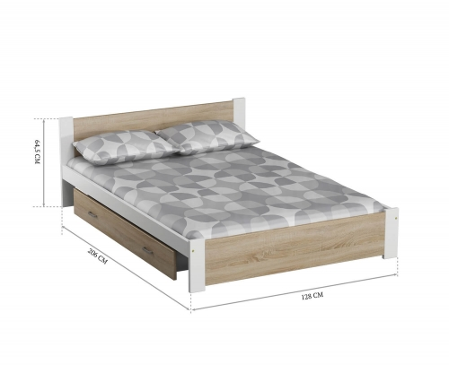 DMD3 ágy 120x200cm fehér + sonoma tölgy