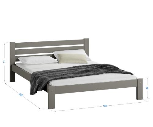 Ajza ágy tömör szürke  120x200