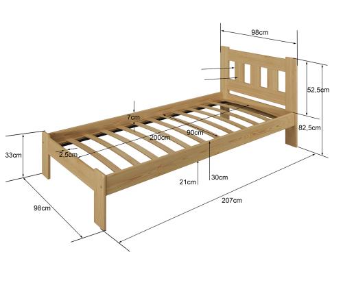 Beta ágy 90x200 tölgy