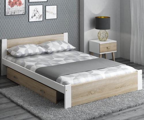DMD3 ágy 140x200cm fehér + sonoma tölgy