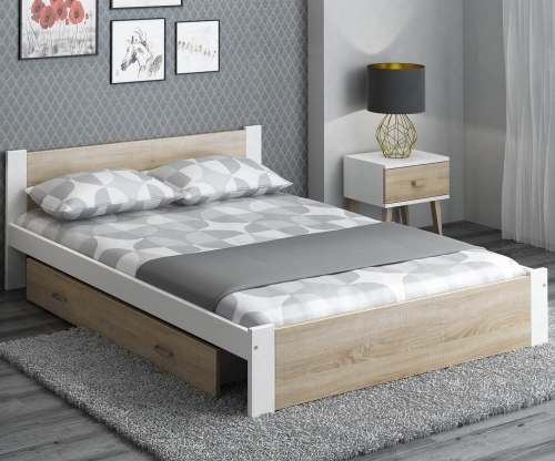 DMD3 ágy 160x200cm fehér + sonoma tölgy
