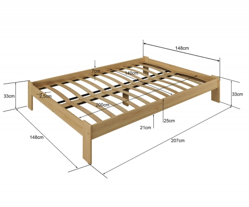 MAGNAT ADA ágy 140x200 ágyráccsal - tömör fenyő