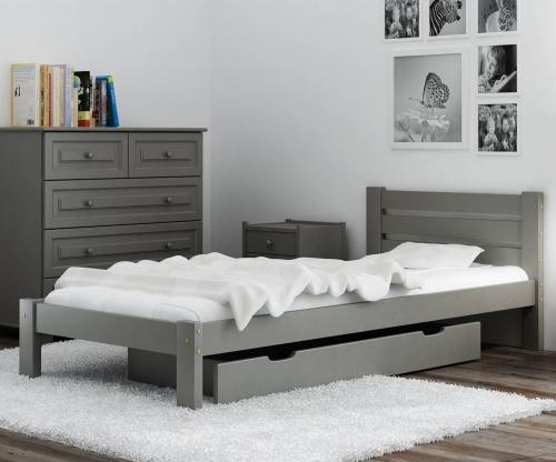 Ajza ágy tömör szürke  90x200