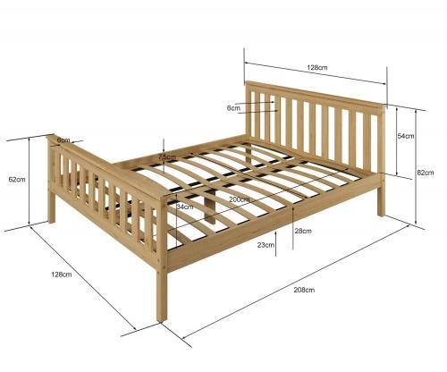 Fehér fenyőfa ágy Naxter 120x200
