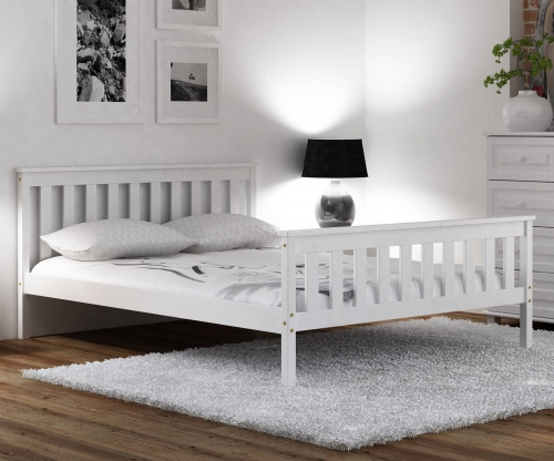 Fehér fenyőfa ágyl Naxter 160x200