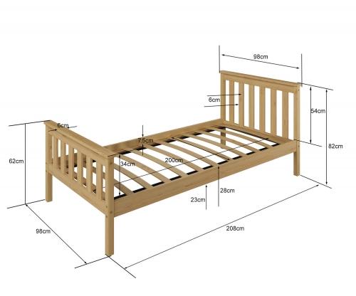Fehér fenyőfa ágy Naxter 90x200