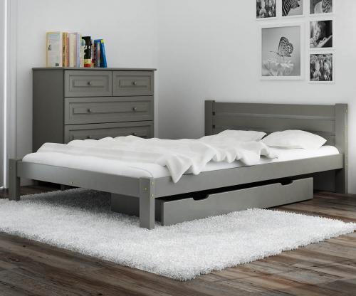 Ajza ágy tömör szürke 140x200