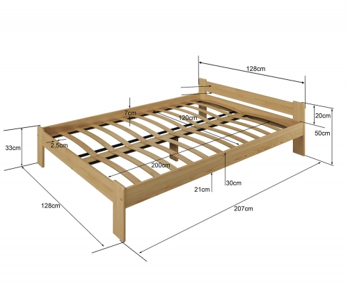 Drewmax LK123 ágy 120x200 fenyő
