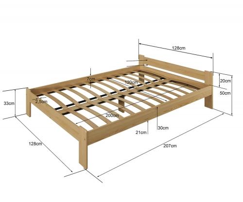Jasnena ágy 120x200 tölgy