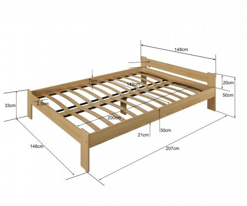 Drewmax LK123 ágy 140x200 fenyő