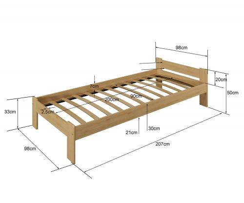 Jasnena ágy 90x200 tölgy