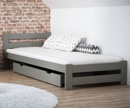 Eureka VitBed ágy 90x200cm tömör fenyő szürke