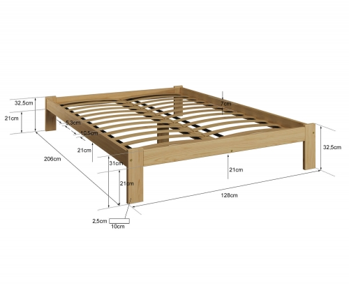 Anzu VitBed fenyő ágy 120x200cm lakkozás nélkül