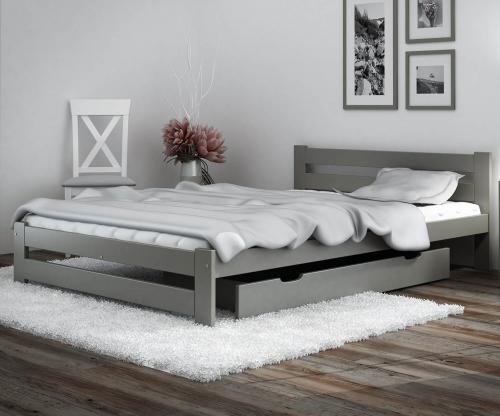 Eureka VitBed ágy 140x200cm tömör fenyő szürke