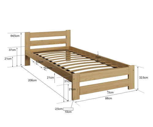 Eureka VitBed ágy 90x200cm tölgy