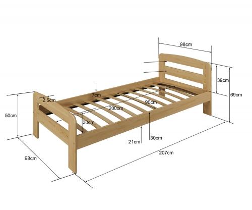 Nastenka ágy 90x200 tömör fenyő fehér