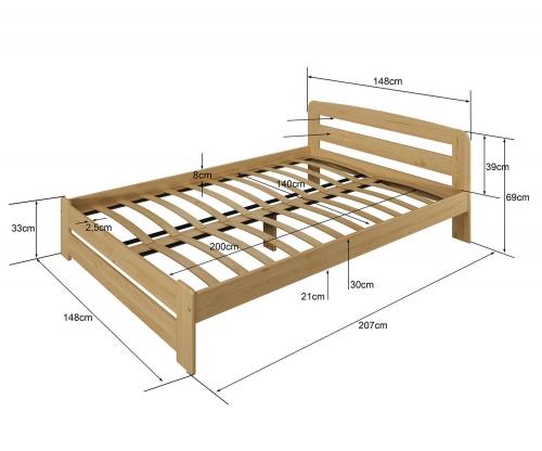 Sasa ágy 140x200 tölgy