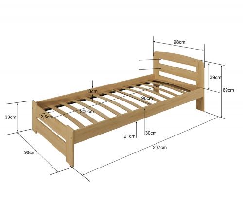 Sasa ágy 90x200 tömör fenyő fehér