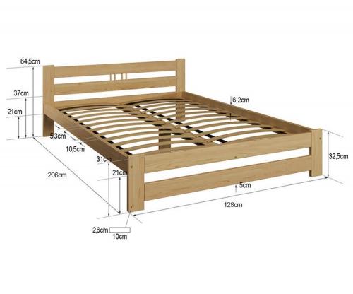 LUX VitBed tömör fenyő ágy fehér 120x200cm
