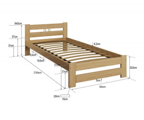 LUX VitBed tömör fenyő ágy fehér 90x200cm