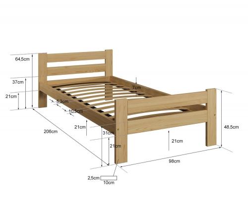 Kenta VitBed ágy 90x200cm tölgy