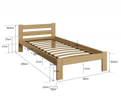 Akio VitBed ágy 90x200cm tömör fenyő fehér