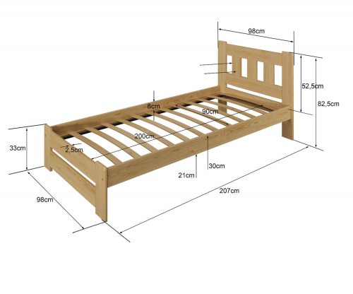 Mila ágy 90x200 tölgy