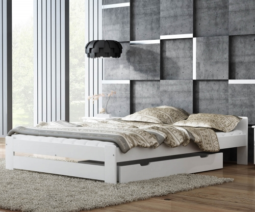 Euro ágy fenyő 120x200 tömör fehér