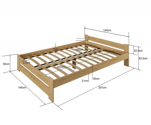 Euro ágy fenyő 140x200