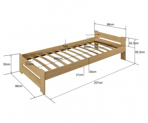 Euro ágy tömör fenyő 90x200cm fehér