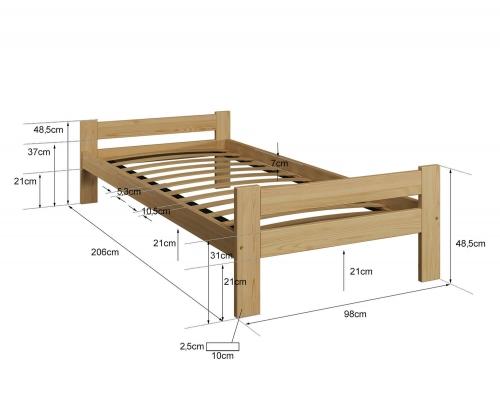 Fumi VitBed fenyő ágy 90x200cm lakkozás nélkül