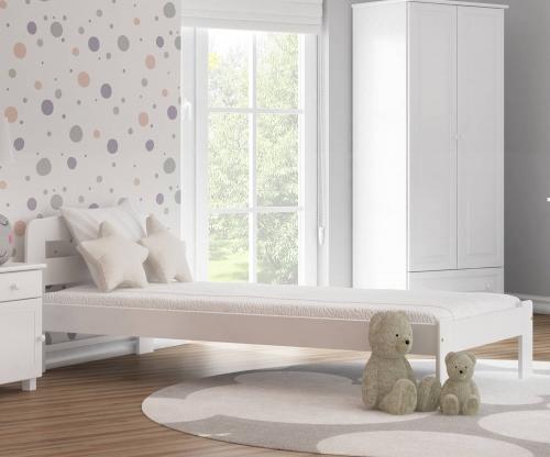 Marcelína ágy 90x200 tömör fenyő fehér