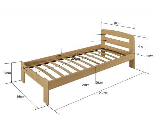 Marcelína ágy 90x200 tölgy