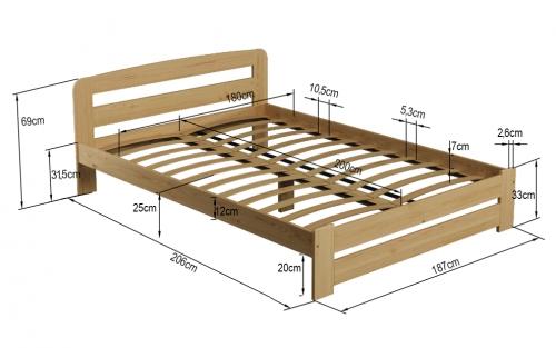 MAXI-DREW postel Eureka 180 x 200 cm - masiv borovice/moření olše